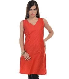Red plain cotton stitched kurti