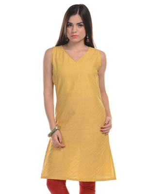 Yellow Plain Cotton Stitched Kurti