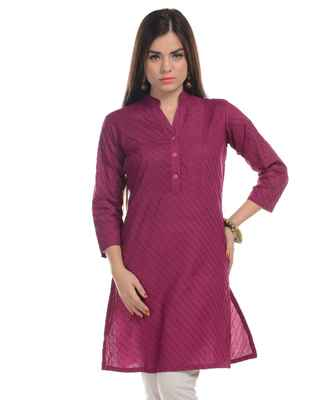 Purple plain cotton stitched kurti