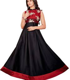 Black embroidered silk embroidered-kurtis