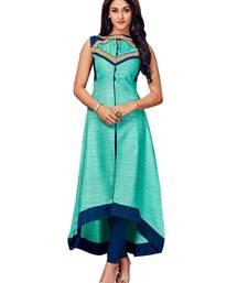 Green embroidered silk long-kurtis