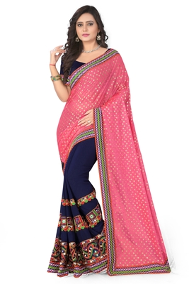 Pink embroidered georgette saree with Lycra Pallu With blouse piece