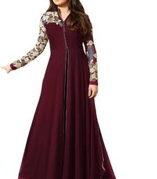 Buy Maroon embroidered georgette salwar anarkali-salwar-kameez online