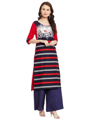 Red printed viscose rayon stitched kurti