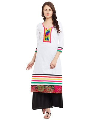 White embroidered cotton stitched kurti
