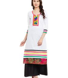 Buy White embroidered cotton stitched kurti kurtas-and-kurtis online
