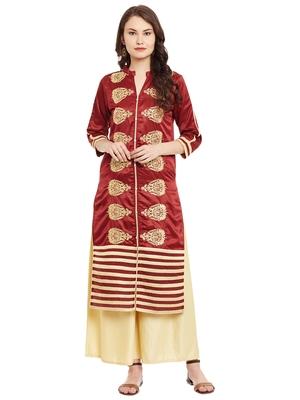 Maroon embroidered viscose rayon stitched kurti