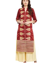 Maroon embroidered viscose rayon stitched kurti