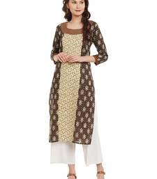 Buy Brown printed cotton stitched kurti plus-size-kurtis online