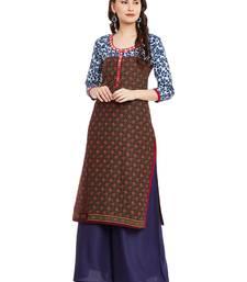 Buy Brown printed cotton stitched kurti kurtas-and-kurti online