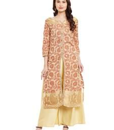 Buy Beige embroidered chanderi stitched kurti plus-size-kurtis online