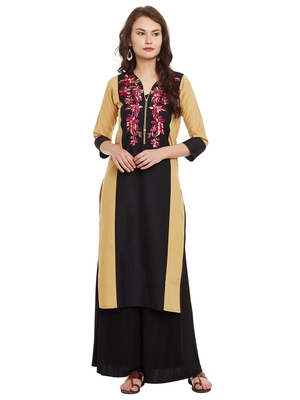 Beige embroidered cotton stitched kurti
