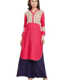 Pink printed viscose rayon stitched kurti