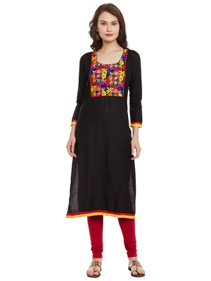 Black embroidered viscose rayon stitched kurti