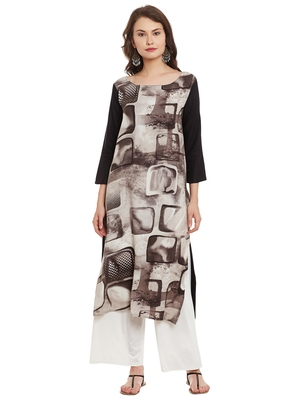 Brown printed viscose rayon stitched kurti