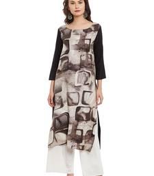 Brown printed viscose rayon stitched kurti