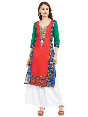 Red embroidered cotton stitched kurti