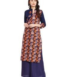Navy blue printed cotton stitched kurti
