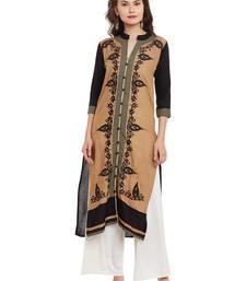 Buy Beige embroidered viscose rayon stitched kurti kurtas-and-kurti online