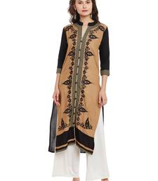 Beige embroidered viscose rayon stitched kurti