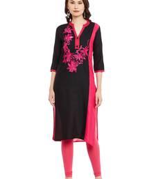 Black embroidered viscose rayon stitched kurti