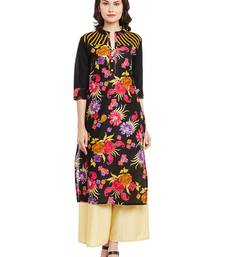 Buy Black printed cotton stitched kurti plus-size-kurtis online