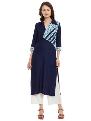 Navy blue printed viscose rayon stitched kurti