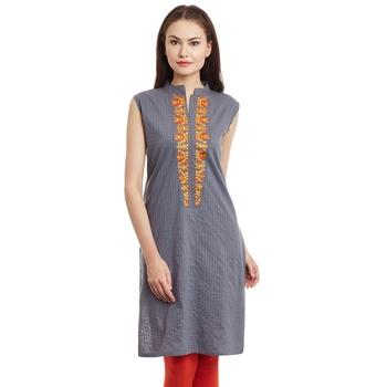 Grey plain cotton stitched kurti