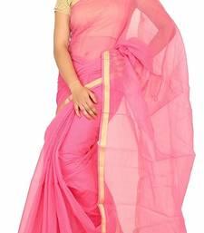 Buy Baby pink plain cotton saree with blouse kota-saree online
