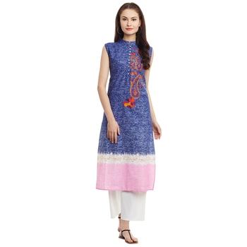 Navy blue embroidered cotton stitched kurti