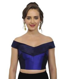 Navy and Cobalt Blue Raw Silk Off-Shoulder Readymade Blouse