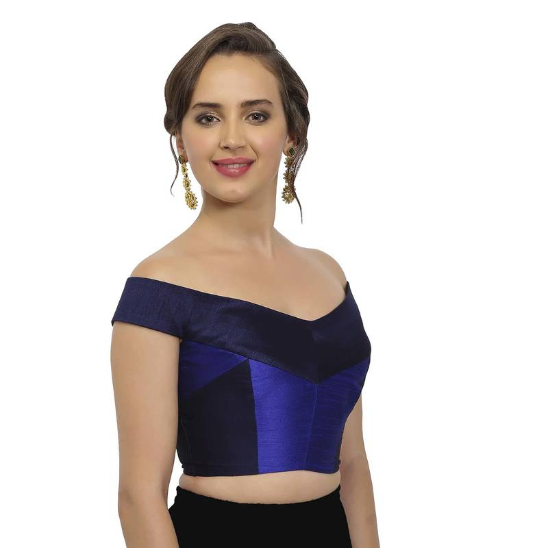 6274ff6efbd524 Navy and Cobalt Blue Raw Silk Off-Shoulder Readymade Blouse - JustB ...