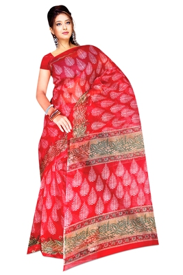 Red printed tissue  saree with blouse