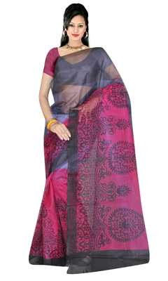 Grey printed tissue saree with blouse