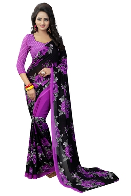 Violet printed georgette saree with blouse