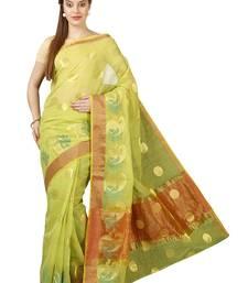 Buy Green plain cotton saree with blouse kota-saree online