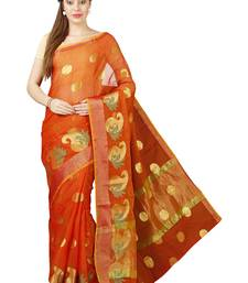 Buy Orange plain cotton saree with blouse kota-saree online