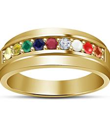 Solid 14k Gold Plated 925 Silver Attractive Round Cut Multi Color Navratna Ring