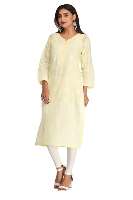Ada Lemon embroidered cotton chikankari kurti