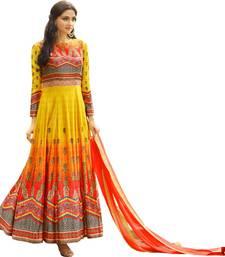 Buy Orange Jersey Printed Gown Style Anarkali Suit jersey-salwar-kameez online