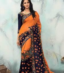 Buy Orange embroidered silk saree with blouse women-ethnic-wear online