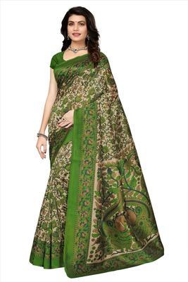Multicolor printed kalamkari art silk saree with blouse