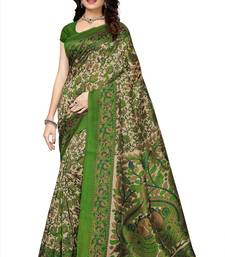 Buy Multicolor printed kalamkari art silk saree with blouse kalamkari-saree online