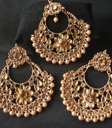 Chandanbali Rose Gold Pearl Maang tikka and earrings combo set