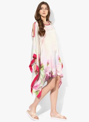 Pink Printed Satin Designer kaftan