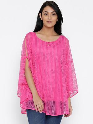 Pink Printed Polyester Designer kaftan