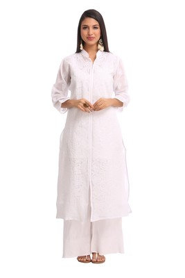 Ada White  Embroidered Cotton Chikankari Kurti