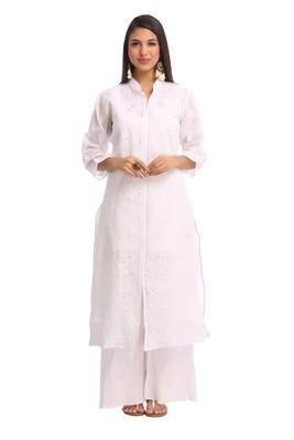 Ada White  embroidered cotton chikankari kurti