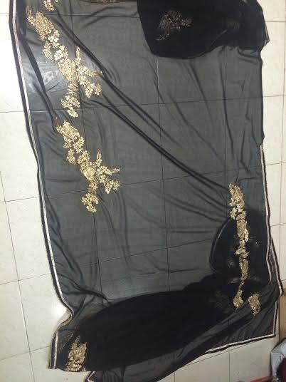 aa54d27a7b Stylish Designer Black & Gold Saree with heavy sequins blouse - AURA ...