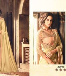 Buy Beige embroidered silk blend saree with blouse silk-saree online